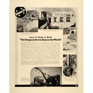 1939 Ad Santa Fe Construction Equipment Parker Dam AZ