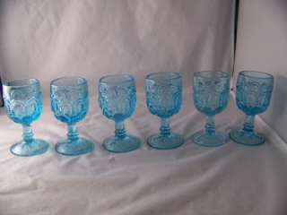 AND STAR ICE BLUE DECANTER AND (6) SIX 3 OZ.WINE GLASSES L@@K