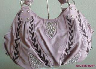 LEAF STUD RHINESTONE BLING HOBO TOTE BUCKLE SHOPPER PURSE BAG