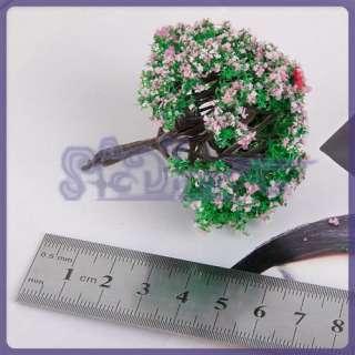 20PC Model Tree Train Garden layout Scene Pink Flower