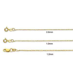 Solid Diamond Cut Bead Chain Necklace 14K Yellow Gold