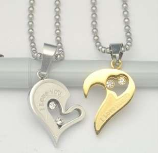 316L Stainless Steel I Love You Heart Wedding Couple Necklace