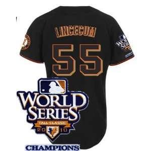 San Francisco Giants #55 Lincecum 2011 MLB Authentic Black