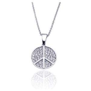Nickel Free Silver Necklaces Cz Cover Peace Sign Necklace Jewelry