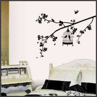 wall decor stickers mural decals art birdcage bird tree black graphic