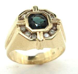 14K YELLOW GOLD DIAMONDS SAPPHIRE MENS PINKY RING