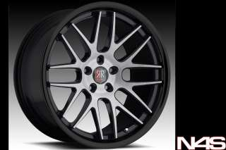 20 NISSAN 350Z 370Z RODERICK RW 6 CONCAVE BLACK STAGGERED WHEELS RIMS