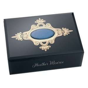 Black Hand Painted Glass Keepsake Box