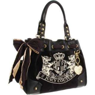 JUICY COUTURE Velour Scottie Embroidery Daydreamer Tote Black
