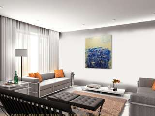 Huge Modern Metallic Blue White Abstract Painting by Anna K