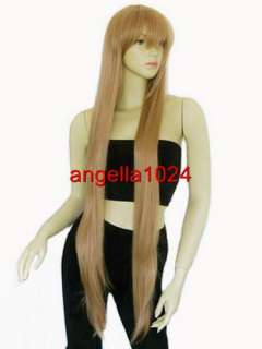 40 nature bangs straight gold blonde layer cosplay wig