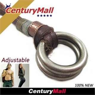Leather Necklace Boys Circle Pendant Choker Fashion New XL328