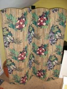 BEAUTIFUL MID CENTURY FABRIC COVERED FOLDING SCREEN IN 4 SECTIONS