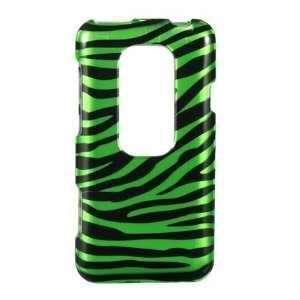 HTC EVO 3D (Sprint) Black Green Zebra Premium Snap On Phone Protector
