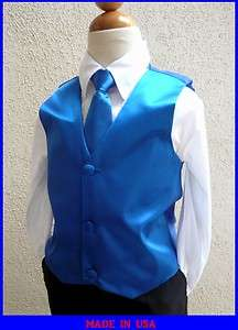 BOYS SOLID ROYAL BLUE VEST NECK TIES / BOW TIES TUXEDO & SUIT SIZE 2