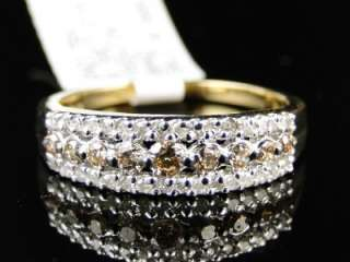 Yellow gold Chocolate/Champagne Diamond Ring Band 1/2 Ct .50 Ct