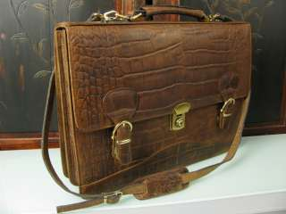 Vintage Italy Crocodile Rustic Leather Briefcase Messenger Laptop Bag