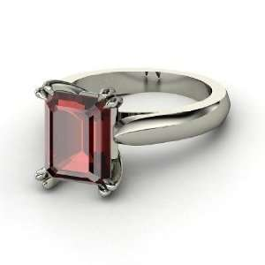 Julianne Ring, Emerald Cut Red Garnet Sterling Silver Ring Jewelry