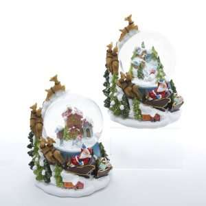 Sleigh with Reindeer and Snowman Christmas Glitterdome Decorations
