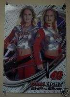 COORS LIGHT BEER POSTER GIRL TWINS NASCAR #40 S. MARLIN