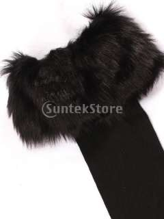 Womens Black Boot Socks Leg Warmers Half Stockings w/ Black Faux Fur