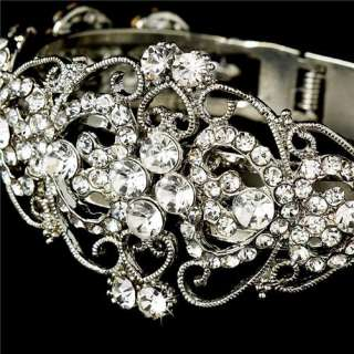 Crystal Rhinestones Wedding Bridal Pageant Prom Jewelry Cuff Bracelet