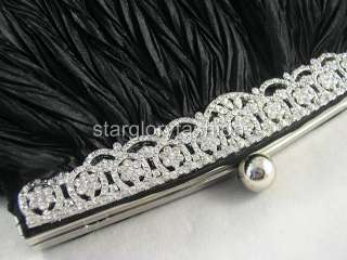 Black ROYAL CRYSTAL FRAME Wedding Purse Clutch & 4 Colors