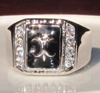 MENS WAR Band Ring USE swarovski crystal WHITE GOLD GP ENGAGEMENT RING