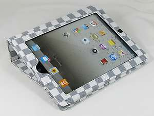 Magnetic Stand Smart Leather Case Cover Checker   White / Black