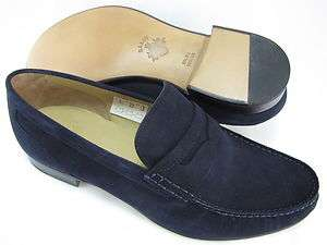 Bally Mens Termez Blue Suede Penny Loafers Slip on Fashion Shoes