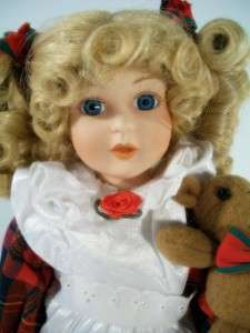 1993 Anco Porcelain Doll Blonde Hair Teddy Bear 16