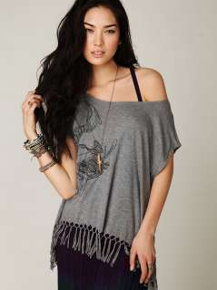 We The Free People Fearless Fringe Graphic Tee Shirt Top L $98