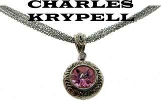 CHARLES KRYPELL DIAMOND & PINK TOPAZ NECKLACE 14K / SS