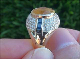 Yellow & Blue Ceylon Sapphire Diamond Ring 14k Gold Certified