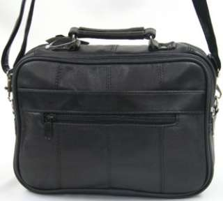 Black Genuine Leather Purse Travel Shoulder Bag Organizer Messenger