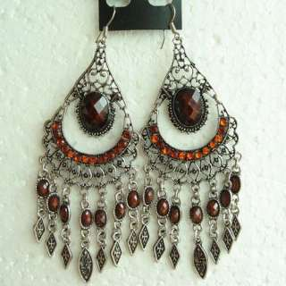 VARY COLORS VINTAGE SWAROVSKI CRYSTAL FRINGE HOOK EARRINGS 1631