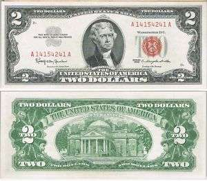 Two Dollars Beautiful Note Red Series 1963 Uncirculated