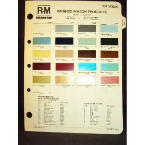 1978 Cadillac Color Paint Chip Page Cadillac Books