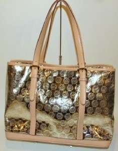 Michael Michael Kors Pale Gold Mirror Monogram Amagansett Tote Bag