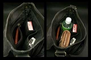 Black Leather Shoulder, messenger Bag / Men's Leather Satchel with