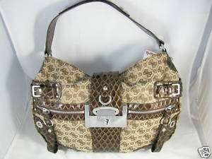 GUESS Clover Brown Logo Handbag w/Patent Trim NWT