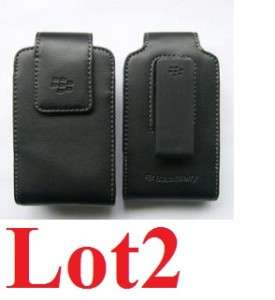 New OEM BlackBerry Genuine Black Leather Case Pouch+Holster Belt Clip