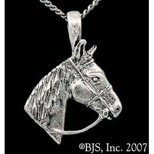Bridled Horse Necklace, 14k White Gold, 20 Silver Box Chain, Horse