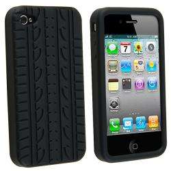 Black Tire Tread Silicone Case for Apple iPhone 4