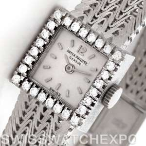 Patek Philippe Vintage Ladies 18k White Gold Diamond Watch 3293/1