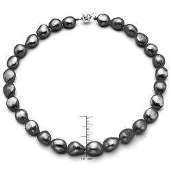 Jewelry Sterling Silver Black Baroque Pearl Necklace (13 14 mm