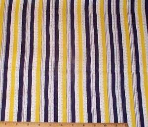 Navy Blue Yellow White Stripes Cotton Fabric 2.75yds