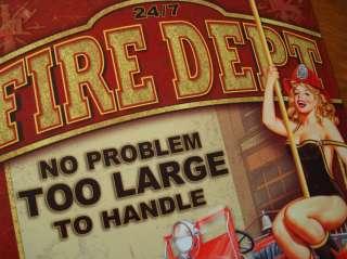 FIRE DEPARTMENT   Classic Fire Engine Fireman Woman & Dalmatian Decor