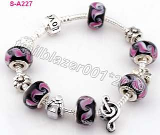 lampwork glass silver European beaded charms snake love bracelet