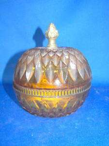 Diamond Point Amber Candy Dish with Pineapple Knob